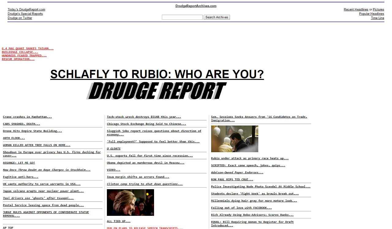 Drudge goes all in for trump politico but from january until now banners have included stories exposing cruzs mothers birth certificate which came amid trumps suggestion that cruz could be aiddatafo Image collections