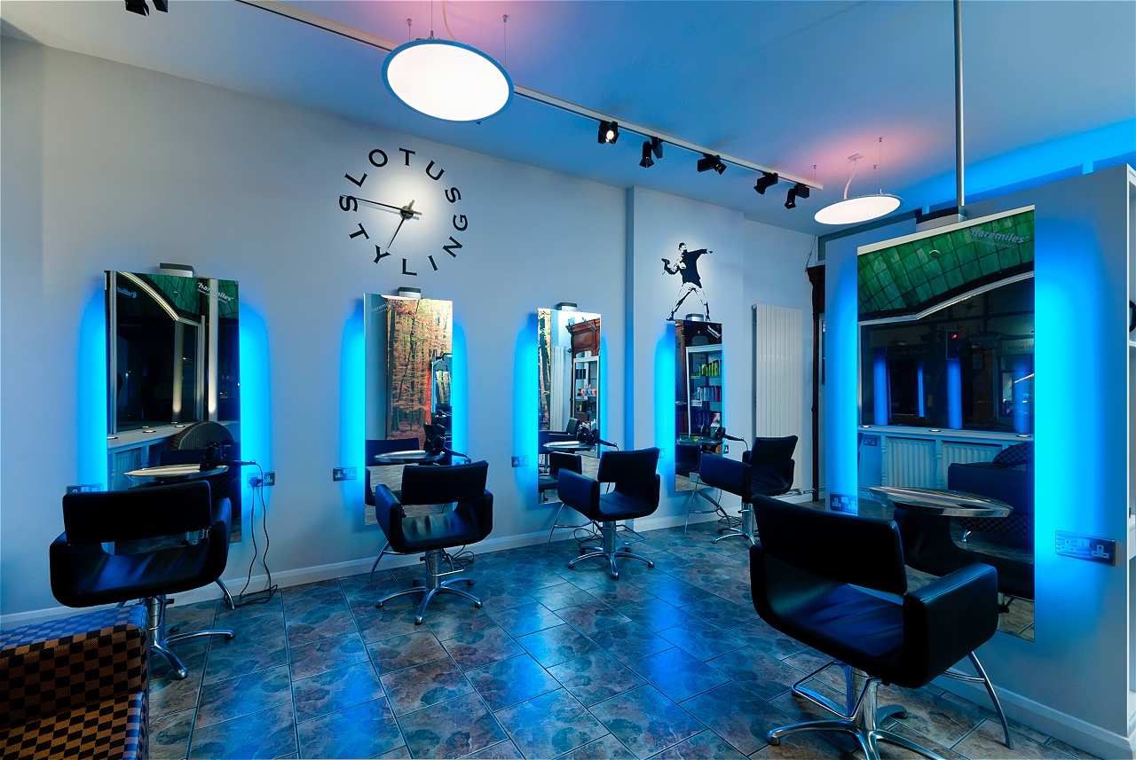 beauty salon lighting. Regis Hair Salon Lotus Styling. With Our DMX Expertise And A Little Help From SOVEREIGN Product Range, This Dramatic Lighting Solution Provides The Beauty L